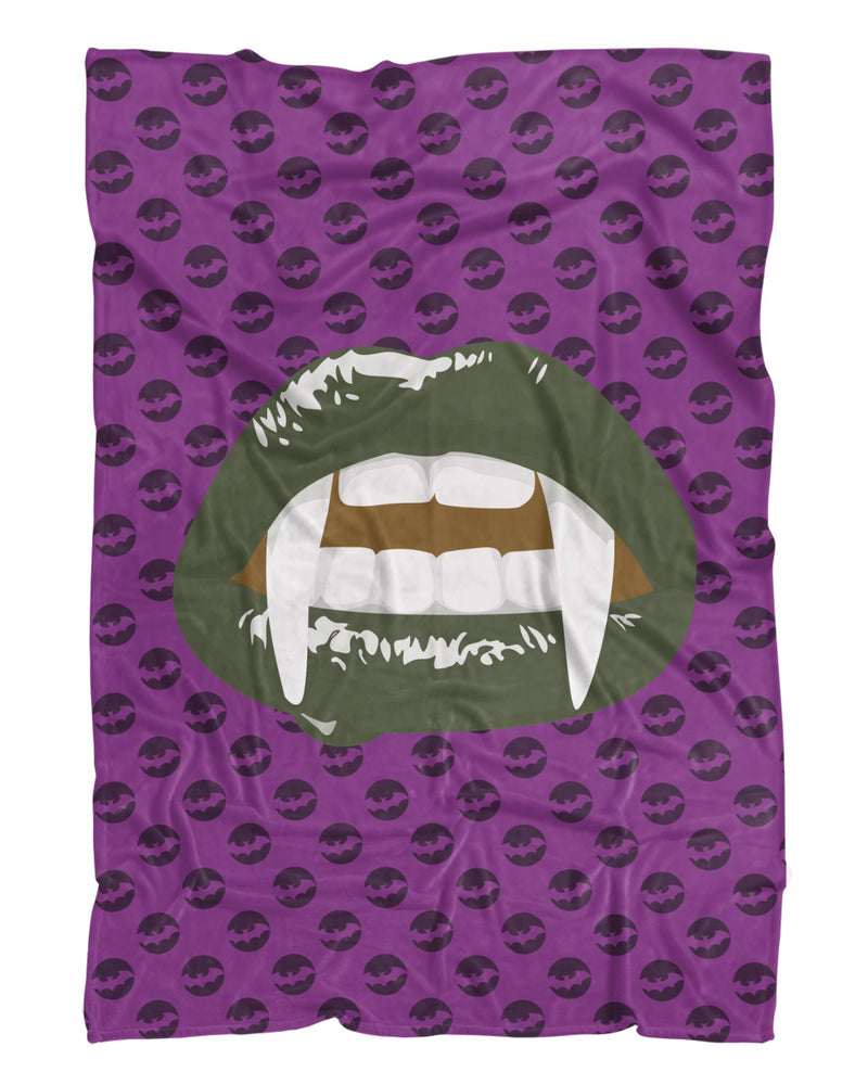 Green Vampire Lips Fluffy Micro Fleece Throw Blanket