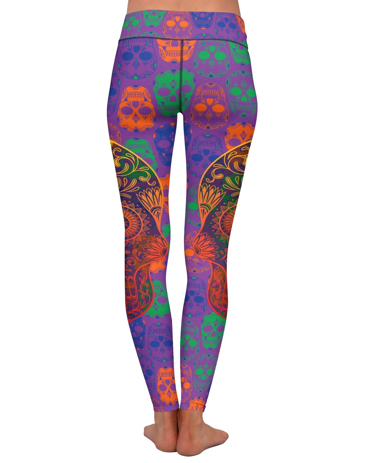 Bright Sugar Skull Yoga Leggings