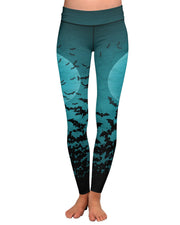 Green Bats Yoga Leggings