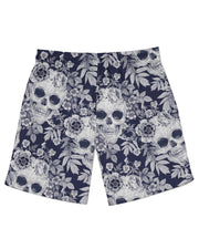 Blue Skull Pattern Athletic Shorts
