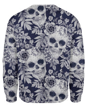 Blue Skull Pattern Sweatshirt