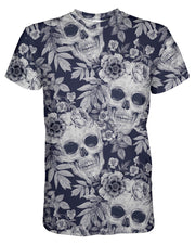 Blue Skull Pattern T-shirt