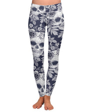 Blue Skull Pattern Yoga Leggings
