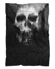 Smeared Skull Fluffy Micro Fleece Throw Blanket