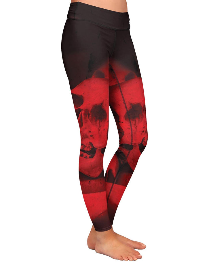 Red Skull Yoga Leggings