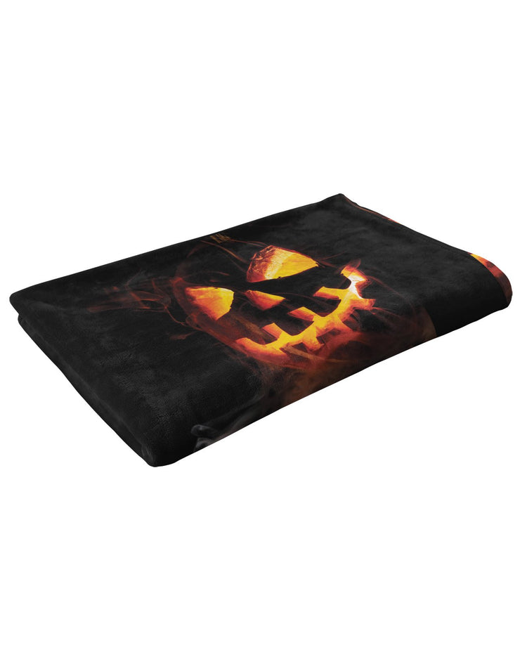 Spooky Jack O Lantern Fluffy Micro Fleece Throw Blanket