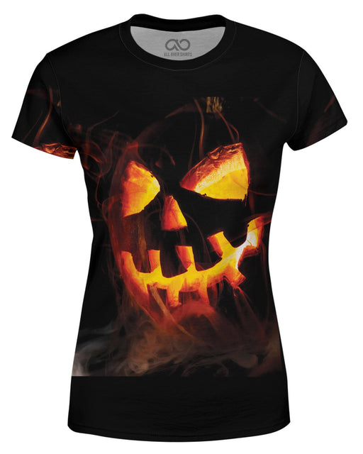 Spooky Jack O Lantern printed all over in HD on premium fabric. Handmade in California.