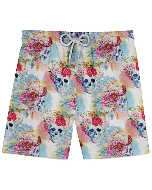 Floral Skulls Athletic Shorts