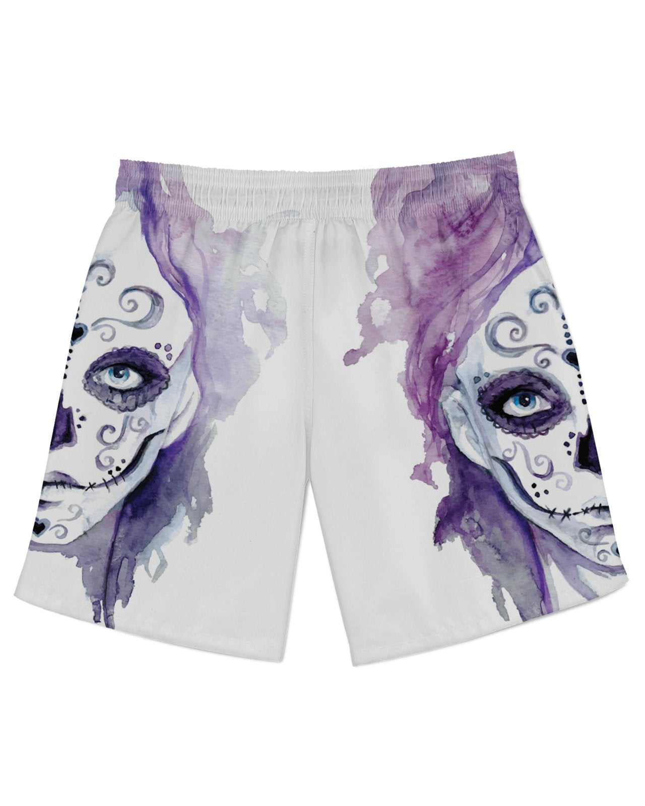Watercolor Sugar Skull Athletic Shorts
