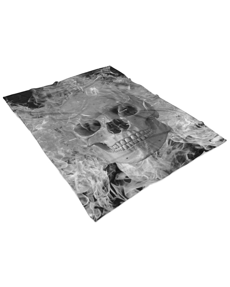 Smoking Skull Fluffy Micro Fleece Throw Blanket