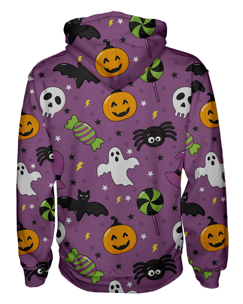 Bats And Ghosts Purple Women's Pullover Hoodie