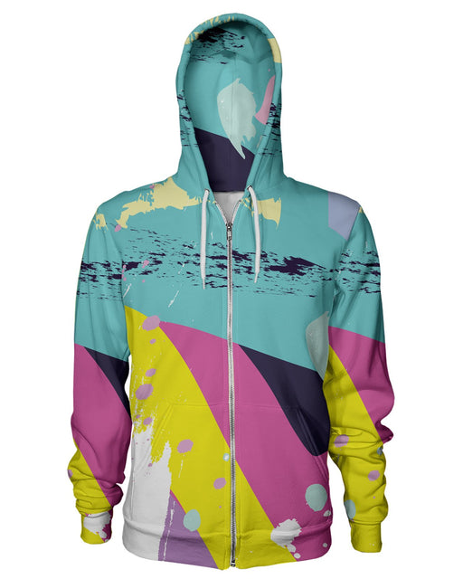 Retro Dojo Brush Splash Zip Hoodie