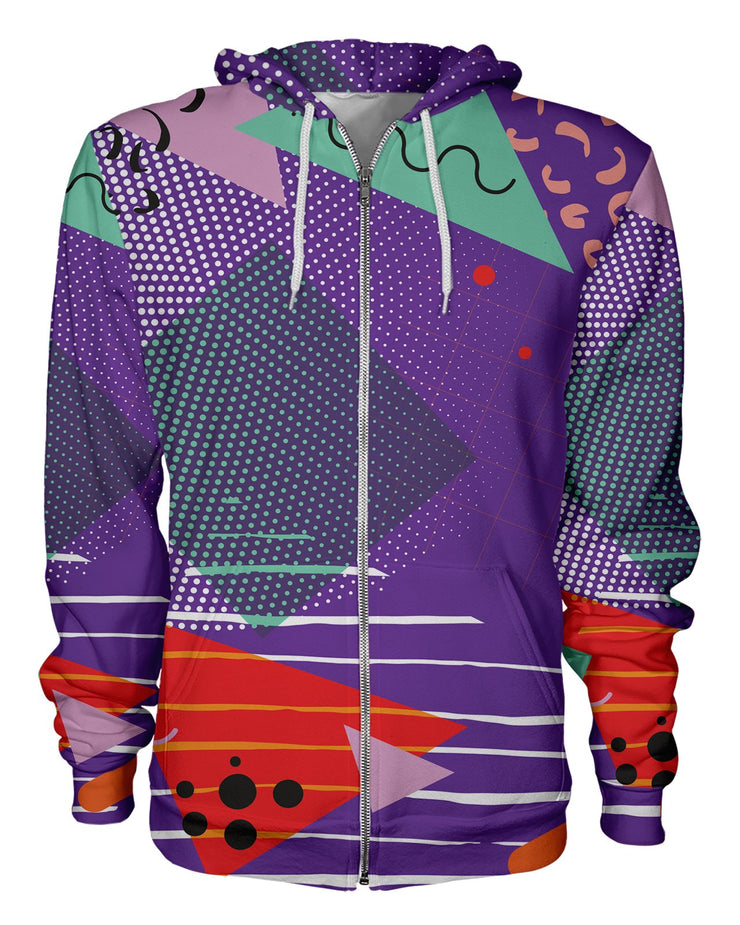 Retro Dojo Gone Geometric Zip Hoodie