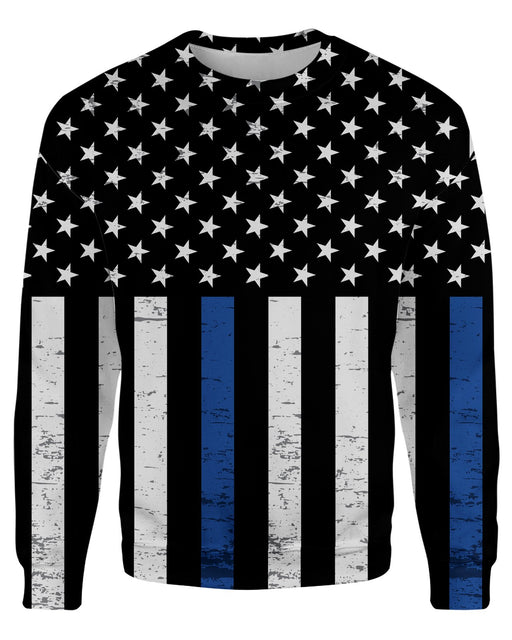 Thin Blue Line Grunge Stars printed all over in HD on premium fabric. Handmade in California.