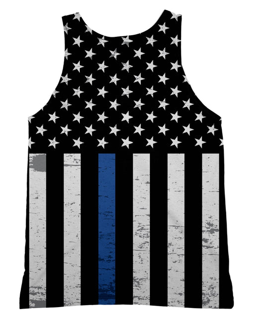 Thin Blue Line Grunge Stars Tank-Top