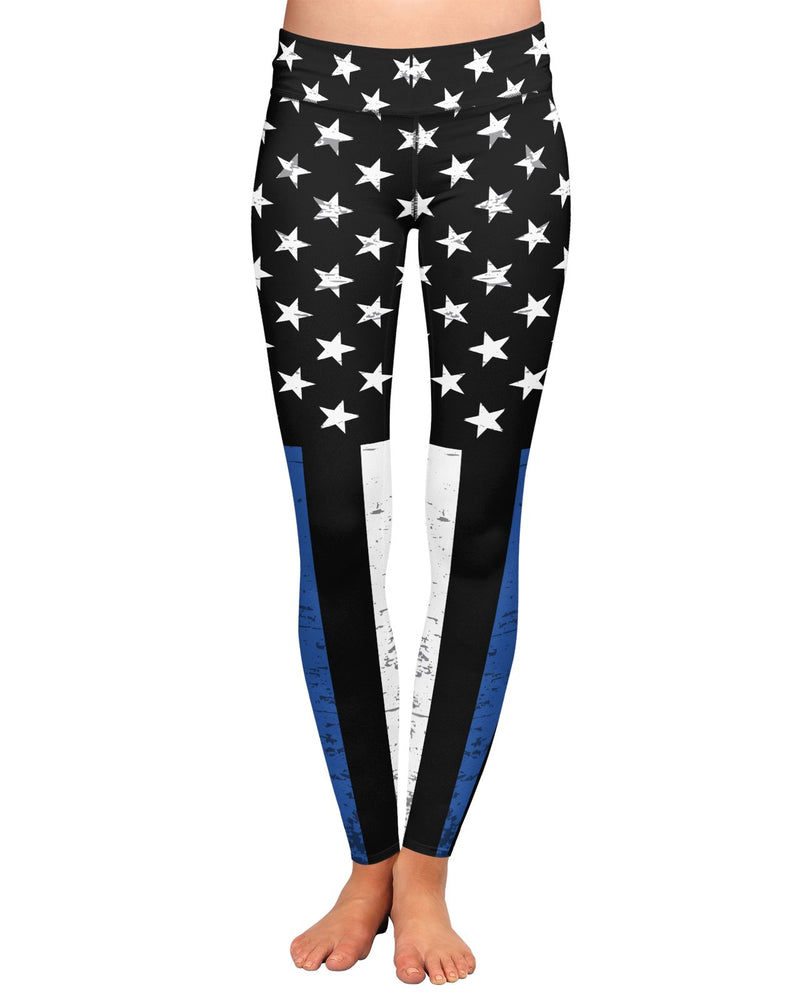 Thin Blue Line Grunge Stars Yoga Leggings