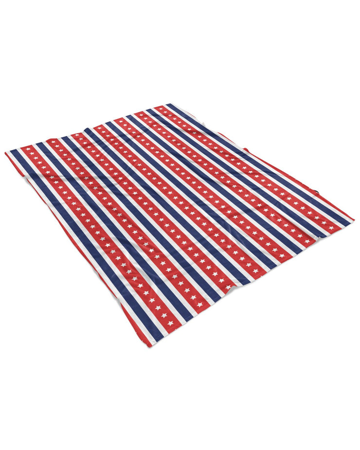 USA Flag Stripes Fluffy Micro Fleece Throw Blanket