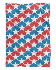 USA Flag Stars Fluffy Micro Fleece Throw Blanket