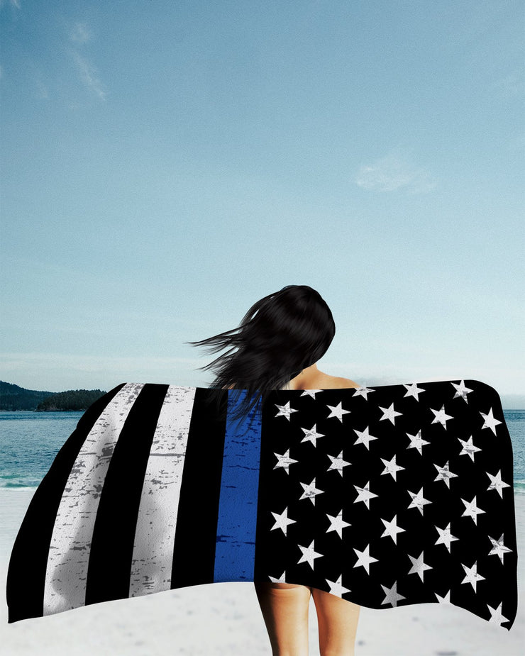 Thin Blue Line Grunge Beach Towel