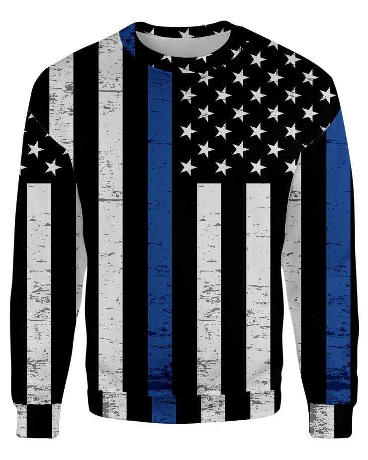 Thin Blue Line Grunge Women's Sweatshirt