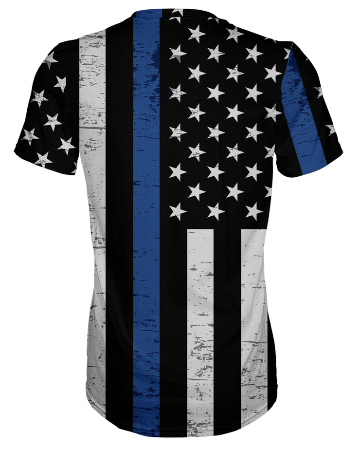 Thin Blue Line Grunge T-shirt