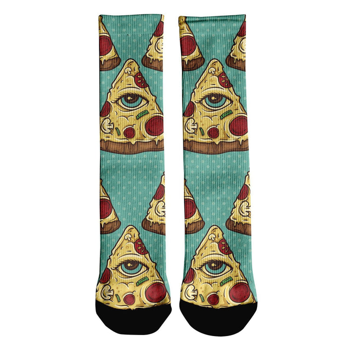 Illuminati Pizza printed all over in HD on premium fabric. Handmade in California.