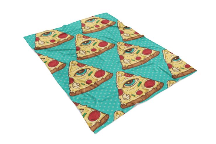 Illuminati Pizza Fluffy Micro Fleece Throw Blanket