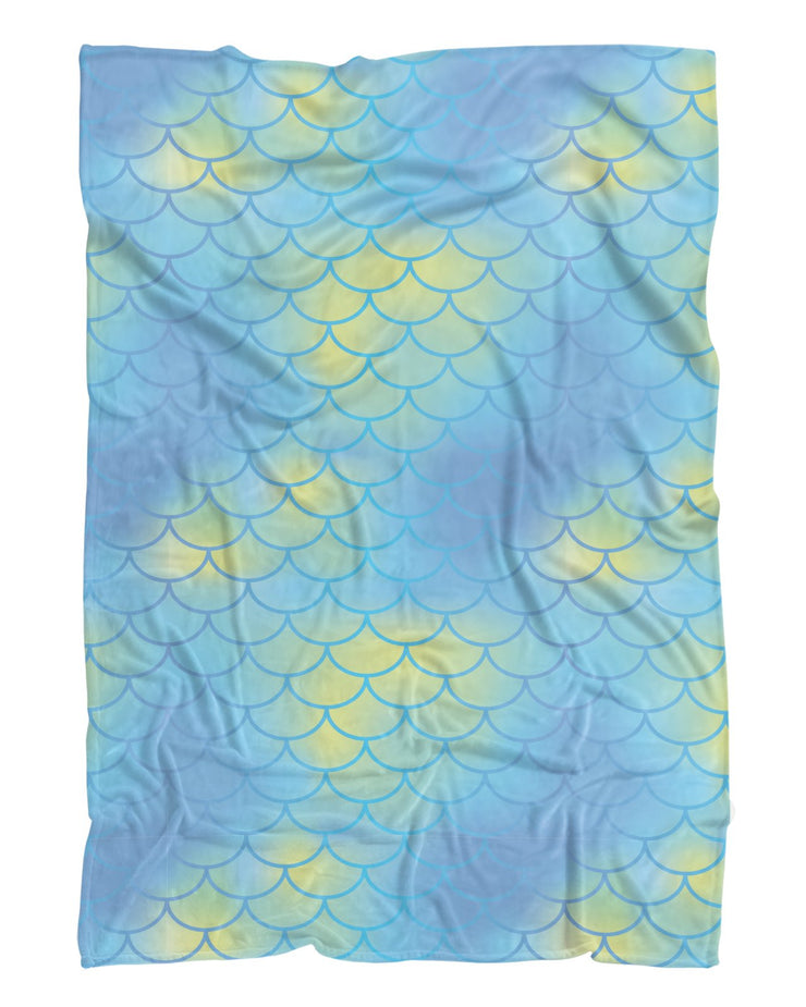 Mermaid Scales Aqua Fluffy Micro Fleece Throw Blanket