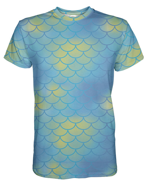 Mermaid Scales Aqua printed all over in HD on premium fabric. Handmade in California.