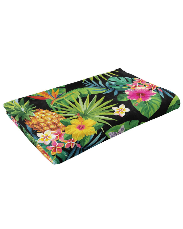 Tropical Pineapples Fluffy Micro Fleece Throw Blanket