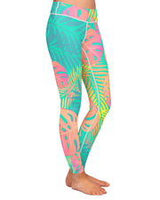 Pastel Tropical Yoga Leggings