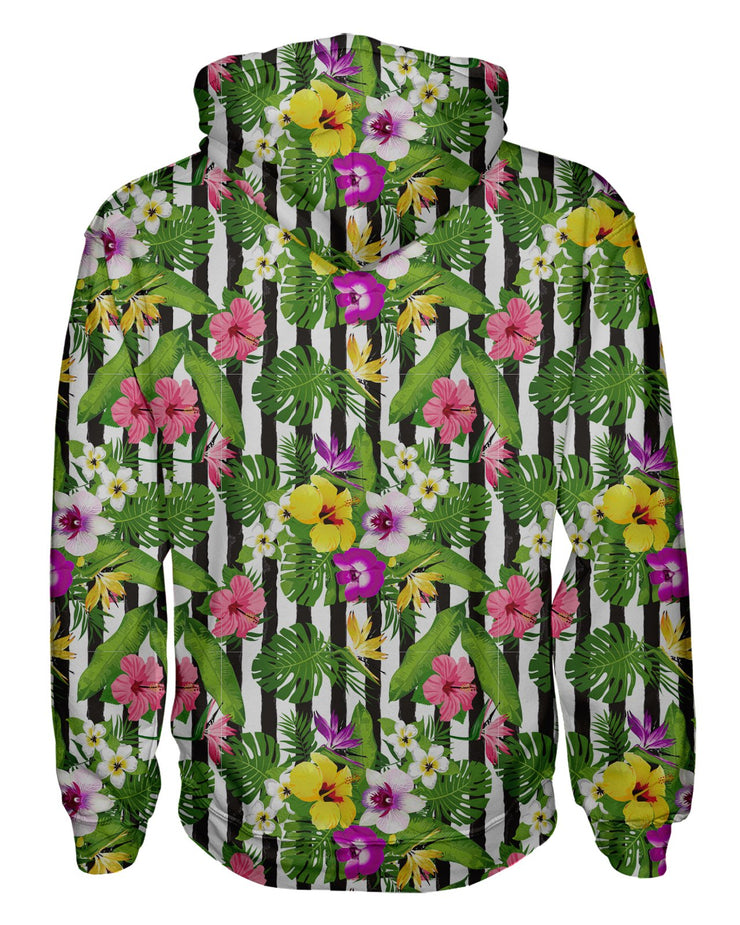 Tropical Stripes Vertical Pullover Hoodie