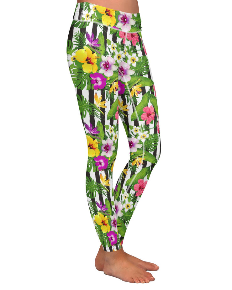 Tropical Stripes Vertical Yoga Leggings
