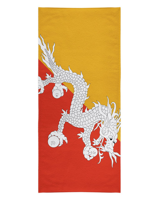 Bhutan Flag printed all over in HD on premium fabric. Handmade in California.