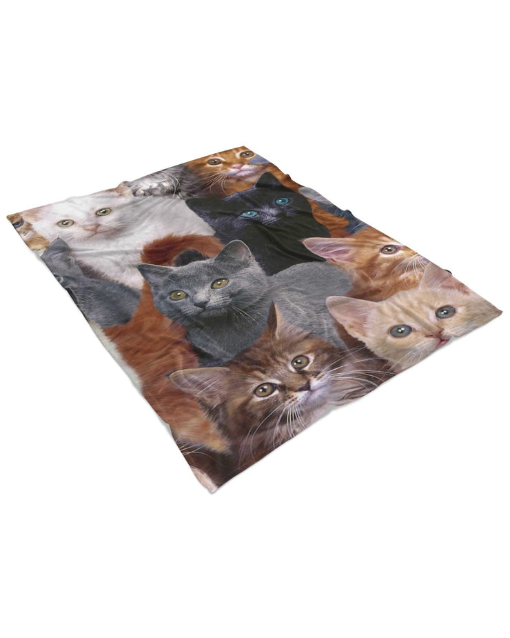 Cat Collage Fluffy Micro Fleece Throw Blanket