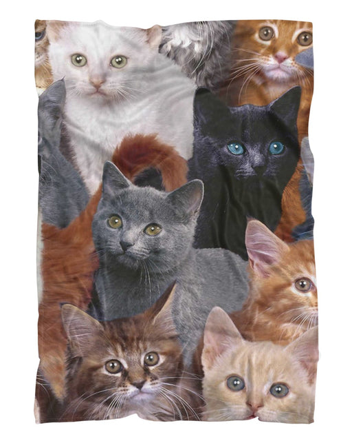 Cat Collage Fluffy Blanket