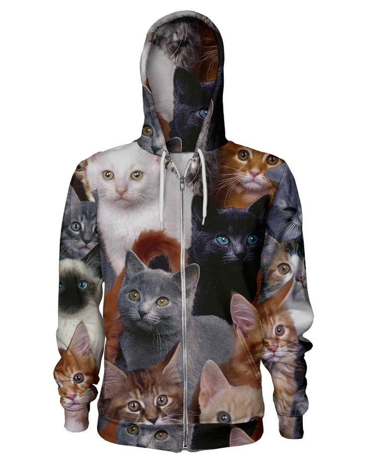 Cat Collage Zip Hoodie