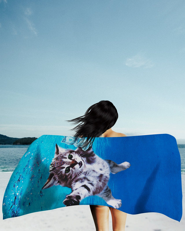 Cat Cobain Beach Towel