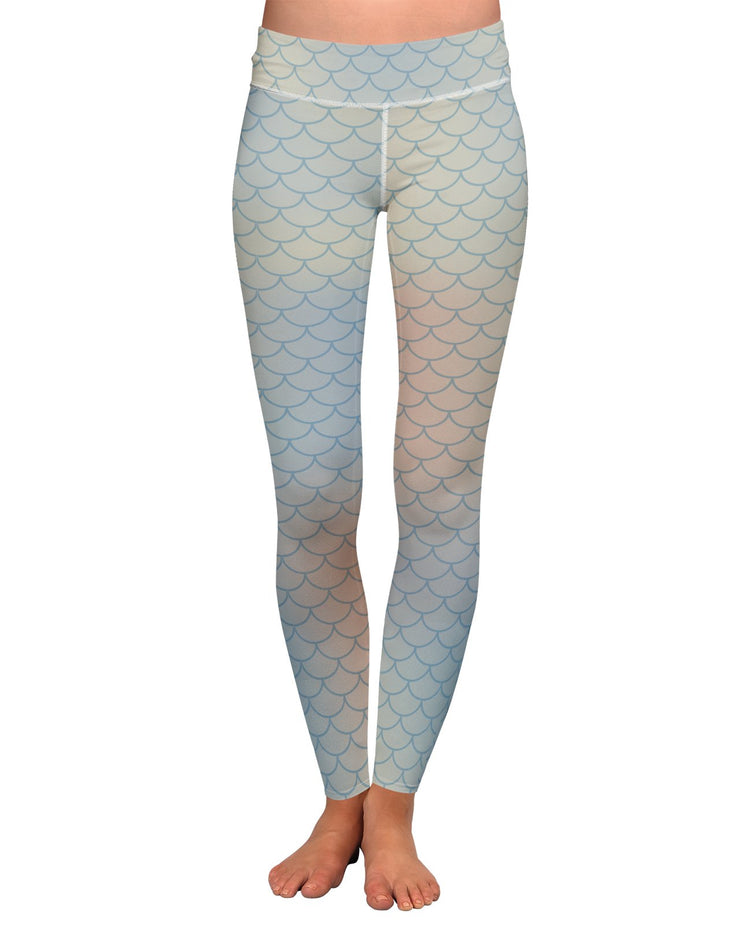 Sea Foam Mermaid Scales Yoga Leggings