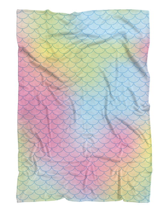Bright Mermaid Scales Fluffy Blanket