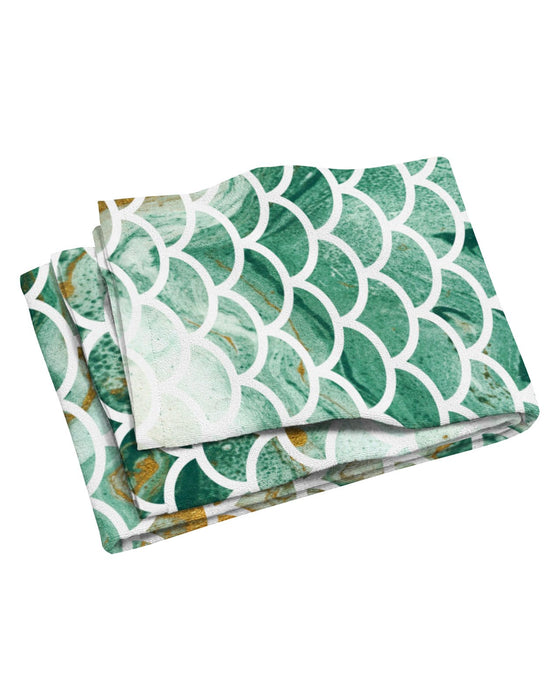 Green and Gold Mermaid Scales Beach Towel