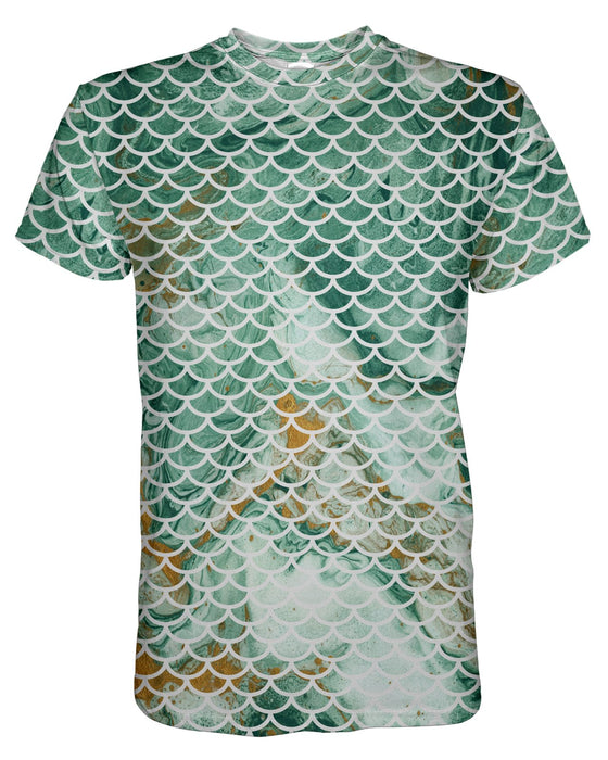 Green and Gold Mermaid Scales T-shirt