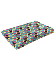 Retro CMYK Cubes Fluffy Micro Fleece Throw Blanket