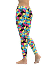 Retro CMYK Cubes Leggings