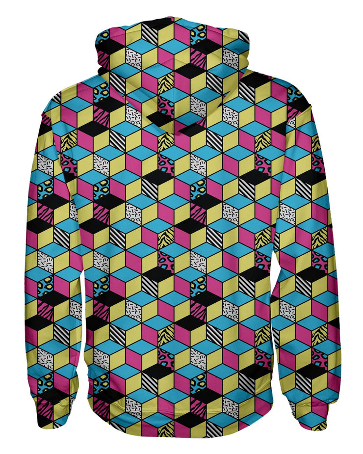 Retro CMYK Cubes Women's Pullover Hoodie