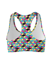 Retro CMYK Cubes Sports Bra