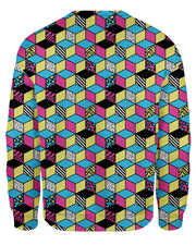 Retro CMYK Cubes Women's Sweatshirt