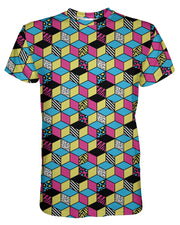Retro CMYK Cubes printed all over in HD on premium fabric. Handmade in California.
