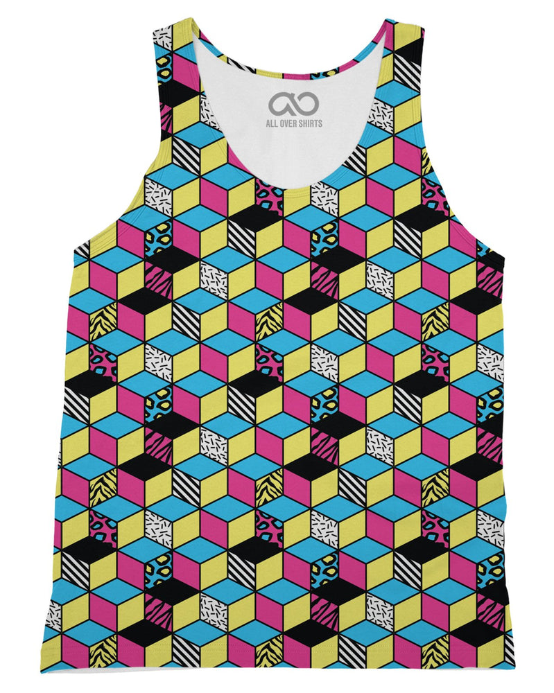 Retro CMYK Cubes Tank-Top
