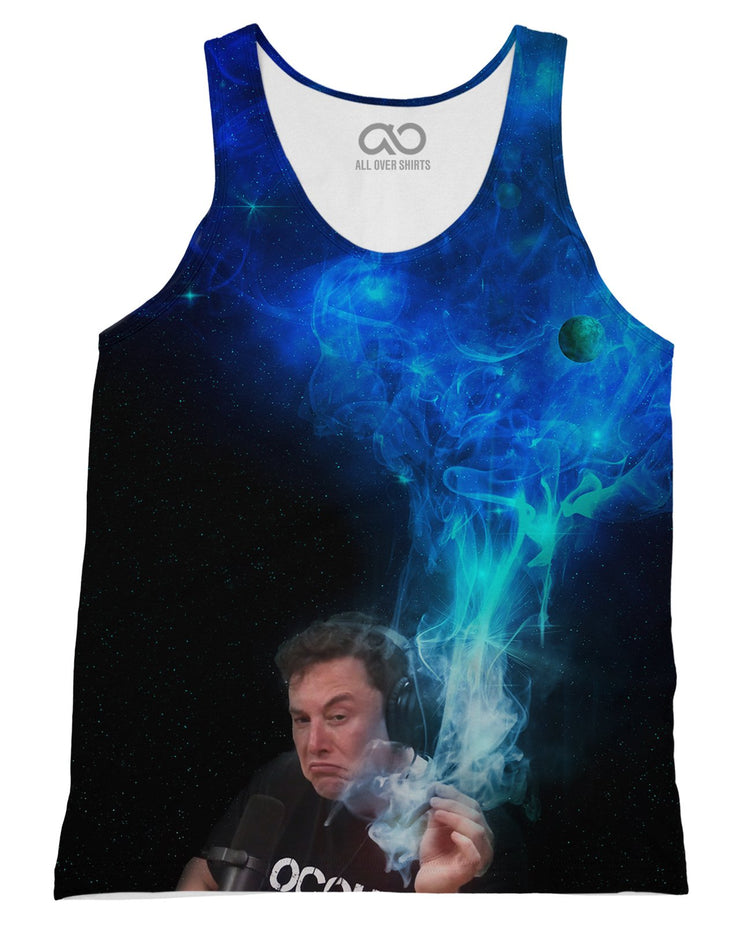 Elon Musk Smoking Blue Tank-Top